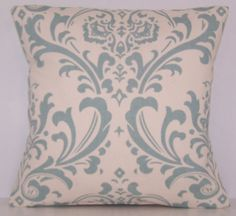 PILLOW COVER Throw Premier Prints Handmade Custom Modern Accent Pillows 14 16 18 20 24 Traditions Damask Village Blue Natural