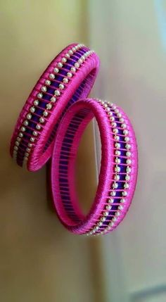 Pink and Blue Silk Thread Bangle Pair