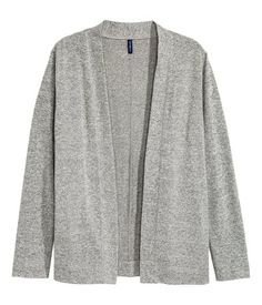 Grey. Fine-knit cardigan in a soft cotton blend with long sleeves, side pockets and no buttons.