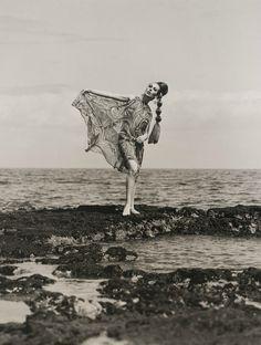 Anne Hamilton, Black Rock, Melbourne, Australia, 1966.  Photographer: Bruno Benini  Dress by Simona for Sportsgirl