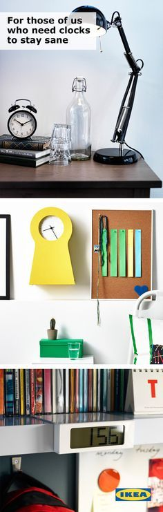 Never underestimate the power of a clock! A great clock can do double the work - function and decoration! Keep an IKEA clock close at hand in your college space to make sure you're always on time for class, sports, clubs or other activities! #IKEAStudyInStyle