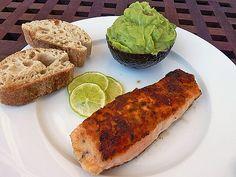 Gebratener Lachs mit Zitronenkruste Guacamole, Broccoli, Avocado Toast, Mexican, Dishes, Chicken, Meat, Breakfast, Ethnic Recipes