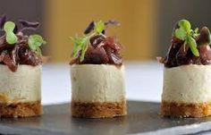 Savoury stilton cheesecake with red onion marmalade.