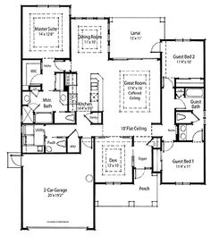 Home Plans HOMEPW75166 - 1,825 Square Feet, 3 Bedroom 2 Bathroom Country Home with 2 Garage Bays