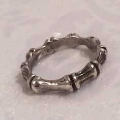 Vintage Sterling Silver 925 Bamboo Design Band Ring Size 8