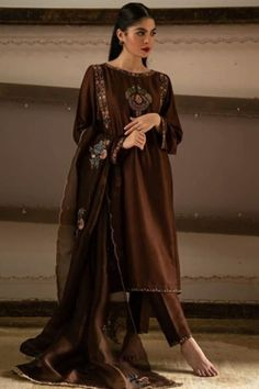 Buy Zari Silk Straight Pant Suit in Dark Brown Color - Salwar Kameez for Women from Andaaz Fashion at Best Prices. Style ID: Pakistani Fashion Party Wear, Indian Fashion Dresses, Pakistani Dress Design, Indian Designer Outfits, Pakistani Outfits, Designer Dresses, Designer Clothing, Indian Outfits, Embroidery Suits Design