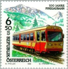 Stamp: Pinzgau Railway, anniversary (Austria) (Railway jubilee) Mi:AT 2288 Old Stamps, Vintage Stamps, Harry Potter Poster, Postage Stamp Collection, Fauna, Stamp Collecting, Travel Posters, Geography, The 100