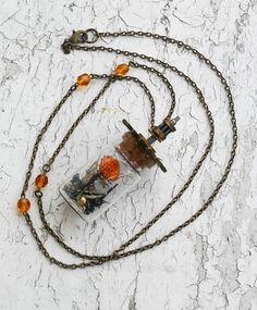 Steampunk Bottle Clock Gears Springs Screws Jewelry Necklace by ObscuredOdditiess on Etsy