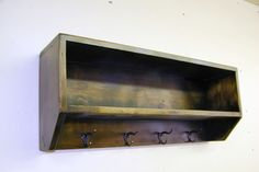 Wood Wall Cubby Shelf with Coat Hooks by WWRusticDesign on Etsy