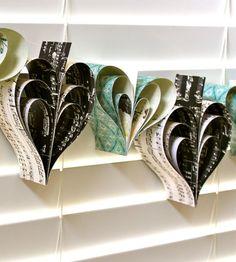 Tiffany sheet music heart garland