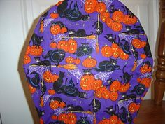 $9.99 This scrub hat has BLACK HALLOWEEN CATS on it with BRIGHT ORANGE SMILING JACK O' LANTERNS surrounded with WITCHES BROOMS, SPIDERS and...