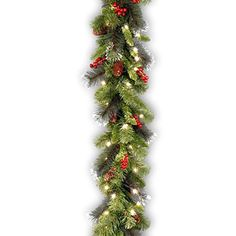 Santa's Little Helper Collection 9' x 10 inch Crestwood Spruce Garland with Silver Bristle Cones Red Berries and Glitter with 50 Clear Lights-