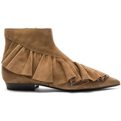 J.W. Anderson Suede Ruffle Booties (1 110 AUD) ❤ liked on Polyvore featuring shoes, boots, ankle booties, booties, suede booties, ruffled boots, suede leather boots, leather sole boots and frilly boots