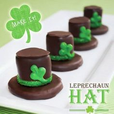 Celebrate St. Patrick's Day with Girl Scout Cookies!   1 Thin Mint,  1 Chocolate dipped marshmallow, Green Decorations,  Dip marshmallow in chocolate and place on top of a Thin Mint.  Cool then decorate.  Yummy!