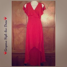 Red High-low Dress Gorgeous dress. Crosses over and ties in back or side if you'd prefer. Dress comes with a dress to wear underneath. Forever 21 Dresses High Low