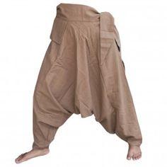 Pantalones bombachos con pequeño frente de bolsillo / lateral para enlazar a - marrón claro