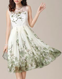 Green Flower Embroidery Floral Print Dress - Fashion Clothing, Latest Street Fashion At Abaday.com