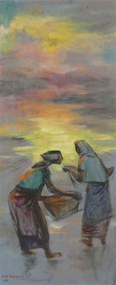 Artwork by Anita Magsaysay-Ho, Village Women at Sunset, Made of oil on canvas Oil On Canvas, Sunset, Artwork, Filipino, Painting, Artists, Women, Work Of Art, Auguste Rodin Artwork