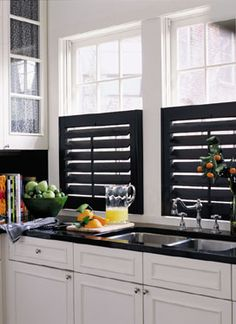 Love these black shutters Basswood Plantation Shutters with 3 Louvers in Custom Color Painted Finish with Painted Hinges Kitchen Window Treatments, Kitchen Shutters, Home, Kitchen Remodel, Kitchen Design, Kitchen Dining Room, Kitchen Decor, Interior Window Shutters, Shutter Window Treatments