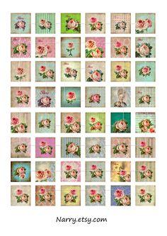 Vintage Rose-1 inch square Images for Pendant,ScrapBooking,Collage -Printable digital images. $3,50, via Etsy.