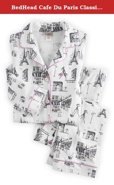 BedHead Cafe Du Paris Classic Stretch Made in USA PJ Set (L, White). Ooh-la-la! The whimsical rues de Paris print is more than charming enough to persuade you to put these in your cart. But wait until you FEEL them ... the jersey knit is soft as your favorite t-shirt, with a smidge of stretch for unconstrained comfort around the clock. What's more, they're fairly made in Los Angeles, making them both glamorous and a great way to keep Americans on the job.