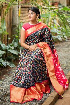 Handloom Pochampally Ikat Silk Saree Hand Picked From