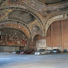 Abandoned theatre in Detroit, now a parking garage