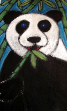 Pastel-glue Panda....for 'Around The World' art camp (China). So fun to do...