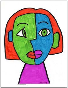 Marker Cubism Face | Art Projects for Kids