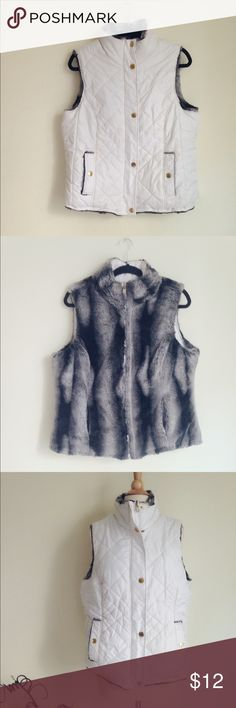 "KC Collections Reversible white&faux fur puff vest A reversible vest, one side white & puffy, the other grey faux fur. 100% poly. Front reversible zipper closure. Both sides have two pockets. Size XL. Please refer to the dimension: chest 21"", length 24"". ✅offer welcome 🚫no trade KC Collections Jackets & Coats Vests"