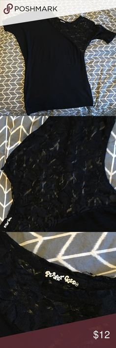 Black off the shoulder/lace Top Black - Size Large - left sleeve lace - sits off the shoulder, loose in bust area and fitted at bottom Tops Blouses