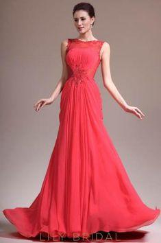 6c02254dd4c Bateau Sleeveless Beaded Chiffon Mermaid Evening Dress With Illusion Lace  Bodice