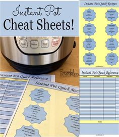Download these 2 Instant Pot cheat sheets! Laminate them and have them close by when using your Instant Pot!
