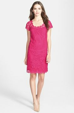 Nicole Miller Cap Sleeve Lace Dress available at #Nordstrom