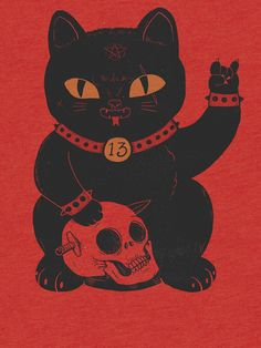 Maneki-neko 'Black Cat' Tri-blend T-Shirt by ppmid Maneki Neko, Red Aesthetic, Animes Wallpapers, Japanese Art, Art Inspo, Art Drawings, Illustration Art, Illustrations, Sketches