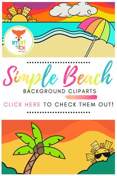 This set of crisp, bright backgrounds are ideal for adding text or images in overlay to spruce up your paper or digital products. This kit contains a total of 72 images, which includes 6 Beach themed settings at 3 different times of day (sunrise, midday, and sunset), in two different sizes. For each image, the user has the option to use a color or solid white background.  #clipart #summer #beach #backgrounds Math Clipart, Science Clipart, Elementary Teacher, Elementary Education, Teacher Pay Teachers, Background Clipart, Bright Background, Valentines Day Clipart, Winter Clipart