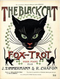 """Vintage sheet music: """"The Black Cat Fox-Trot"""" by Jean Zimmerman & René Chapon; Editions L. Maillochon, Paris (1920) - Cover illustration by André Lemoine"""