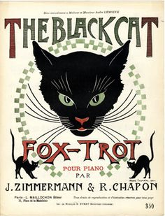 "Vintage sheet music: ""The Black Cat Fox-Trot"" by Jean Zimmerman & René Chapon; Editions L. Maillochon, Paris (1920) - Cover illustration by André Lemoine"