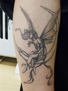 fairy tattoos & Crescent moon