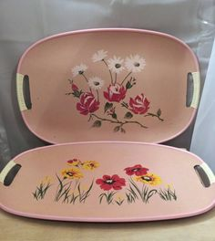 Vintage Tray Set Pink Floral Flowers 1960s Home by Kittenspaws, $20.00