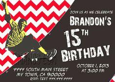 Mis 2 Manos: Made by My Hands: Skateboarding Teen Birthday Party, Chevron Birthday Invitation Boy Party Invitation Printable