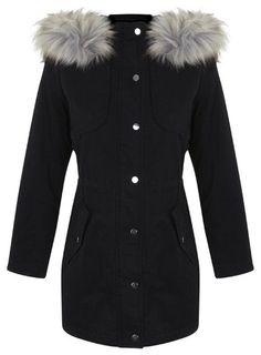 Petites Black Parka Coat