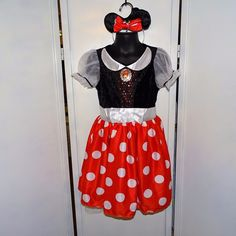 Disney Minnie Mouse Child Costume Size 4-6 Ears Bow Red Polka Dots Halloween #Disguise