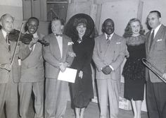 Jack Benny, Lionel Hampton, James Cagney, Ginger Rogers, Count Basie, Deanna Durbin, and Tommy Dorsey during a broadcast for the Armed Forces Radio Service. Sept. 30, 1944.