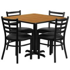 Flash Furniture 36'' Square Natural Laminate Table Set with 4 Ladder Back Metal Chairs - Black Vinyl Seat by Flash Furniture. $224.11. Square Table and Metal Restaurant Chair Set, Set Includes 4 Chairs, Square Table Top and X-Base, Metal Restaurant Chair, Ladder Style Back, Black Vinyl Upholstered Seat, 2.5'' Thick 1.4 Density Foam Padded Seat, CA117 Fire Retardant Foam, 18 Gauge Steel Frame, Welded Joint Assembly, Curved Support Bar, Black Powder Coated Frame Fin...