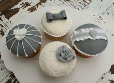 Grey and white shabby chic cupcakes