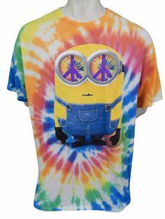 Illumination Entertainment Minions Tie Dye Shirt Size 2XL Peace Sign Cotton #IlluminationEntertainment #TieDye