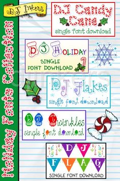 DJ Holiday fonts collection, DJ Candy Cane, DJ Holiday, DJ Flakes, DJ Twinkles, DJ Flag, Christmas fonts