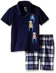 c669a4c15 Kids Headquarters Little Boys' Toddler 2 Piece Set- Polo Shirt and Plaid  Short, Multi, 3T