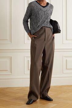 Brunello Cucinelli, Minimalist Fashion, Minimalist Style, Sweater Outfits, Grey Sweater, Knitwear, Menswear, Sequins, Sweaters